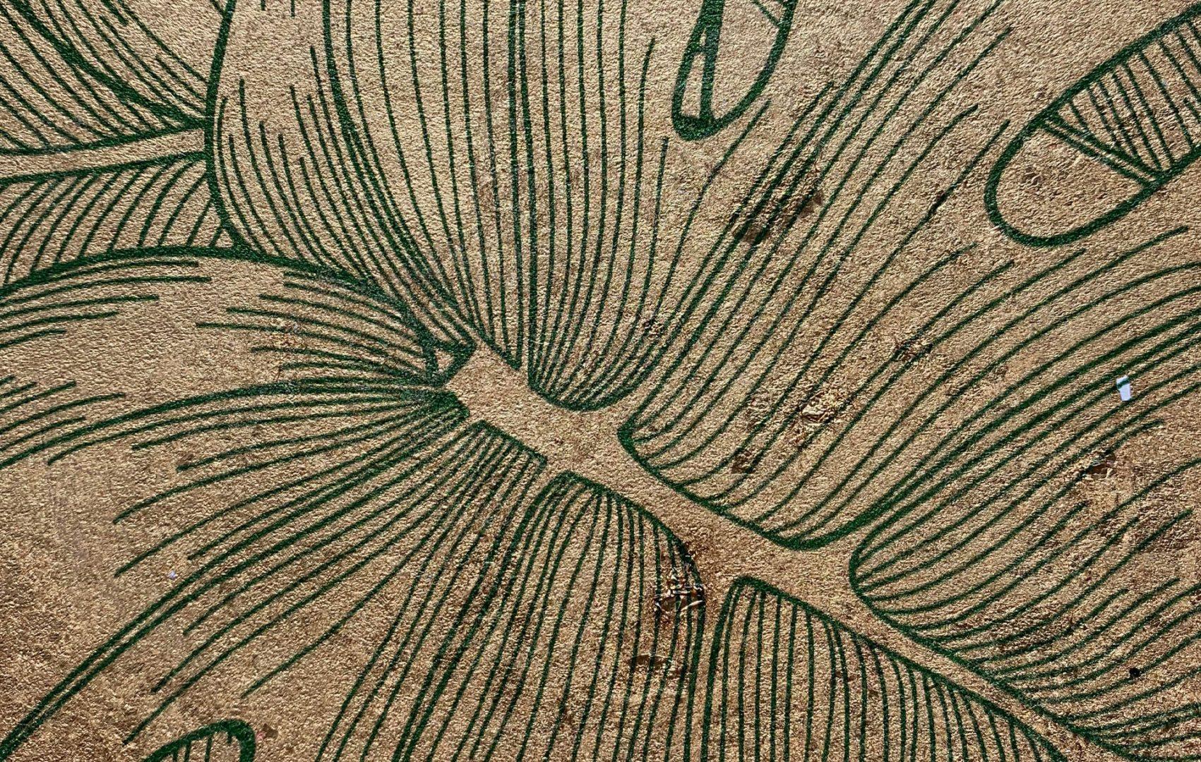 grenn-palm-leaf on gilded paper